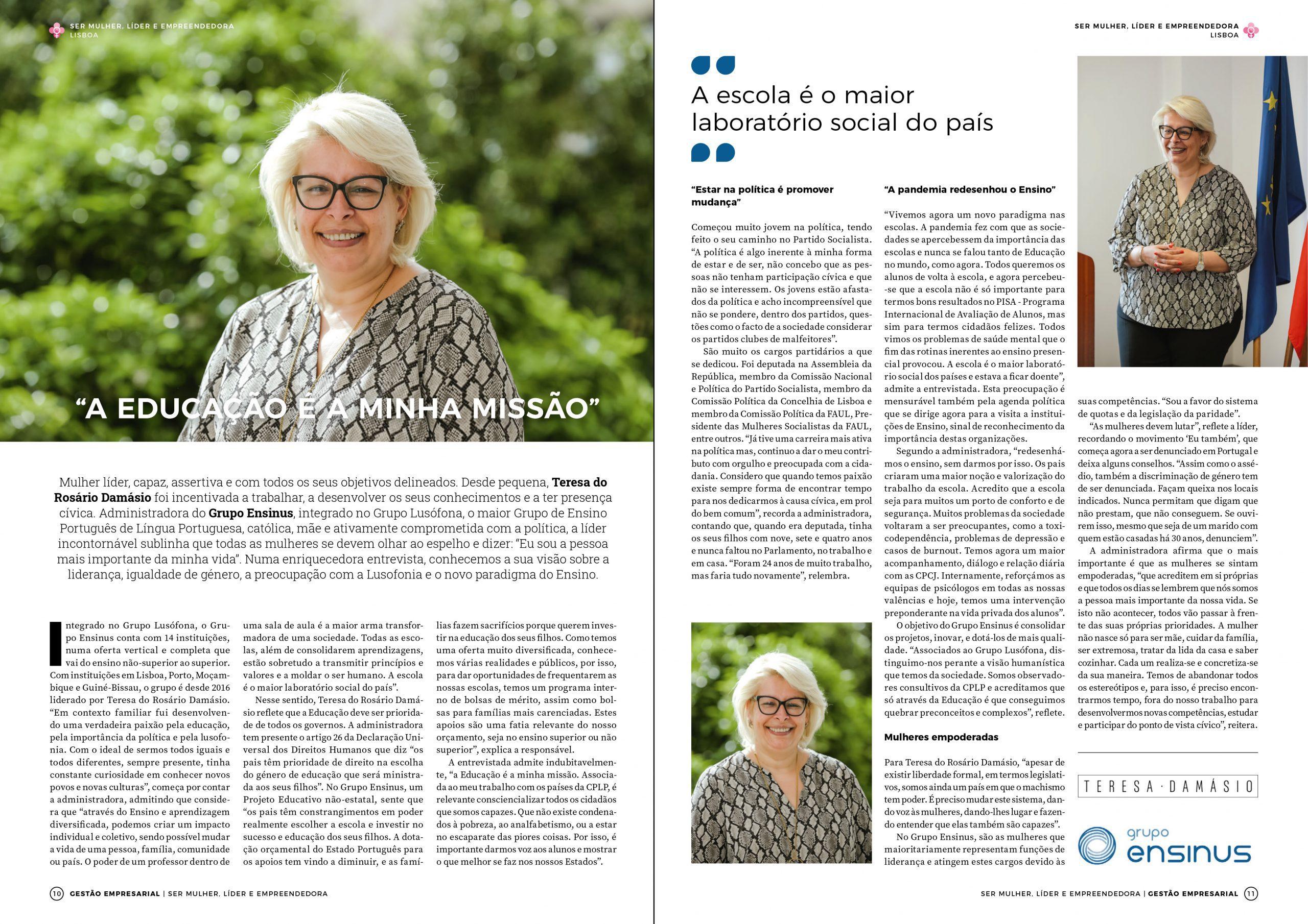 """Revista Gestão Empresarial: """"A Educação é a minha Missão"""""""